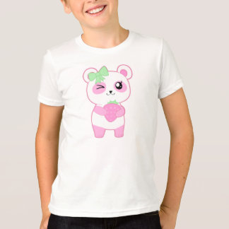Camiseta Urso de panda bonito de Kawaii do rosa da morango