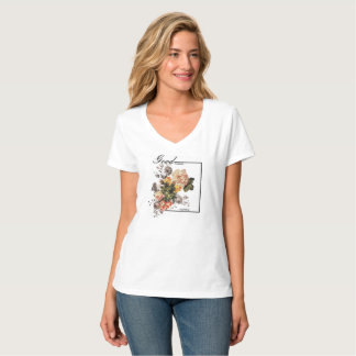 Camiseta V estampada