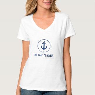 Camiseta V-Pescoço azul náutico do t-shirt do nome do barco