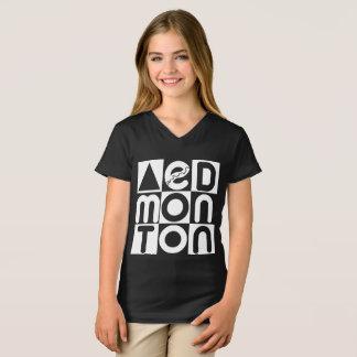 Camiseta V-pescoço das meninas do quebra-cabeça de Edmonton