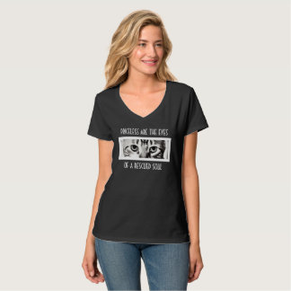 Camiseta V-Pescoço do salvamento do olho de gatos