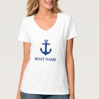 Camiseta V-Pescoço náutico do branco da âncora do nome do