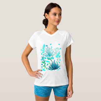 Camiseta V-pescoço, t-shirt com motivo floral na parte