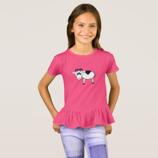 Camiseta Vaca dos desenhos animados com arco roxo