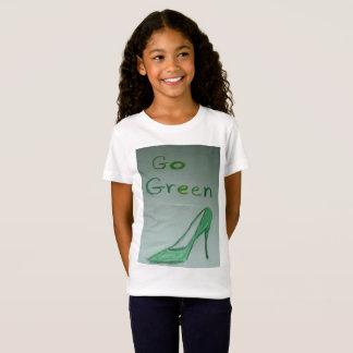 Camiseta Vai o t-shirt verde do jérsei das meninas