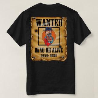 Camiseta vaqueiro querido do fora da lei da arma do poster
