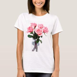 Camiseta Vaso de vidro de rosas cor-de-rosa