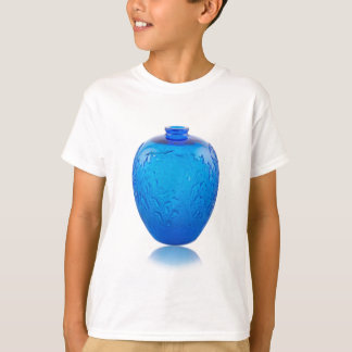 Camiseta Vaso de vidro do art deco azul com folhas