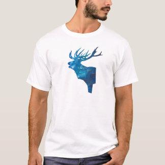 Camiseta veado principal dos cervos no azul