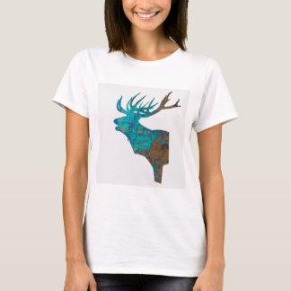 Camiseta veado principal dos cervos nos turquois