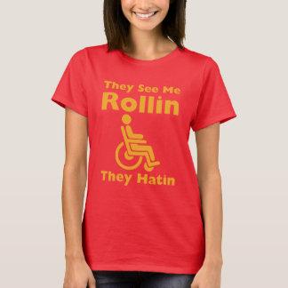 Camiseta Vêem-me rolamento eles diar a cadeira de rodas