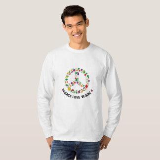 Camiseta Vegan vegetal do sinal de paz do vegetariano