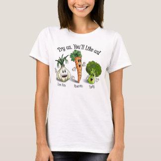 Camiseta Vegetarianos - tente-nos. Você gostará de nos!