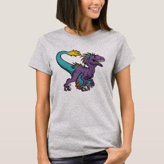 Camiseta Velociraptor emplumado roxo de Chibi
