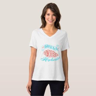 Camiseta Vêm Shell ou a maré-alta - V branco - pescoço