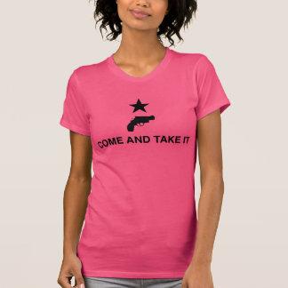 Camiseta Venha tomá-lo com revólver - rosa