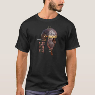 Camiseta Veni, Vidi, Vici capacete romano antigo