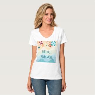 Camiseta Verão adorável bonito do olá!, artigo engraçado da