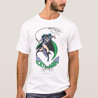 Camiseta Verde da mulher-gato & do logotipo