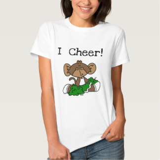 Camiseta verde e branco do cheerleader do macaco