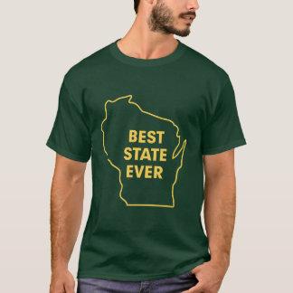 """Camiseta Verde e ouro melhor estado de Wisconsin do """"nunca"""""""
