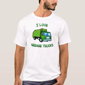 Camiseta verde eu amo caminhões de lixo