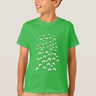 Camiseta Verde louco e curioso engraçado monstro Eyed