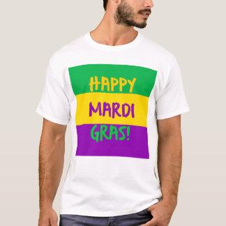Camiseta Verde roxo e ouro do carnaval feliz