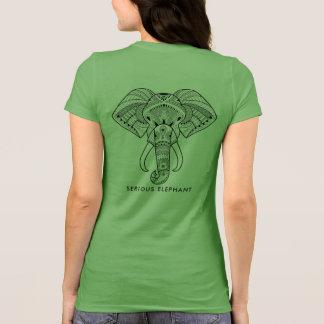 Camiseta Verde sério do elefante - t-shirt frente e verso