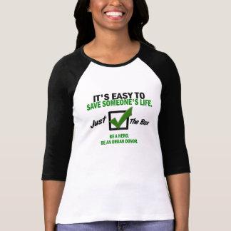Camiseta Verifique a caixa (a doação de órgão)