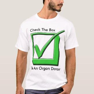 Camiseta Verifique a caixa - seja um dador de órgãos!