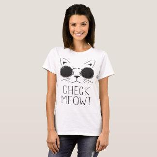 Camiseta Verifique o Meow engraçado do presente do gato da
