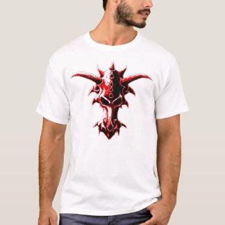 Camiseta Vermelho demoníaco do crânio do dragão