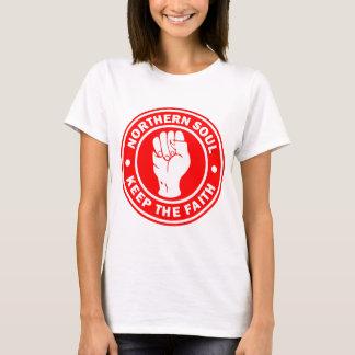 Camiseta vermelho do norte do logotipo da alma