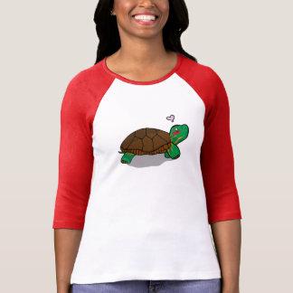Camiseta Vermelho pintado bonito da tartaruga - 3/4 de