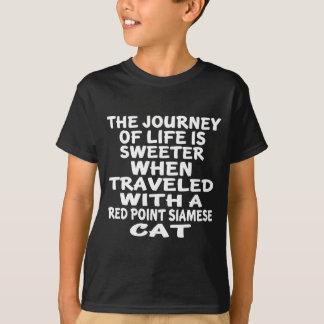 Camiseta Viajado com o gato siamese do ponto vermelho