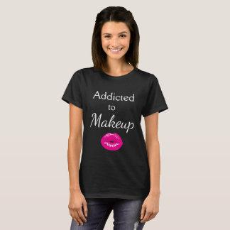 Camiseta Viciado ao t-shirt preto dos lábios da composição