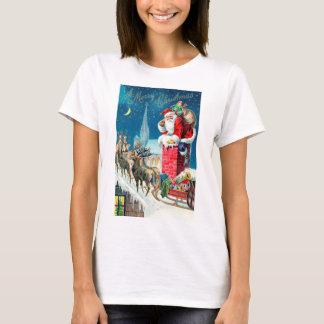 Camiseta Victorian Papai Noel do natal vintage na chaminé