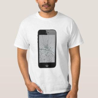 Camiseta Vidro do telefone com Vidro-Olhar quebrado