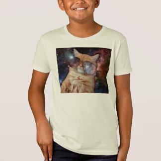Camiseta Vidros do gato - gato dos óculos de sol - espaço