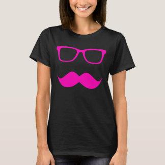 Camiseta Vidros do hipster + Bigode - rosa