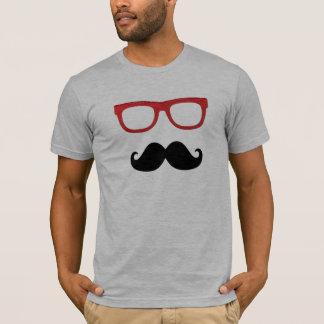Camiseta vidros grossos da borda do bigode
