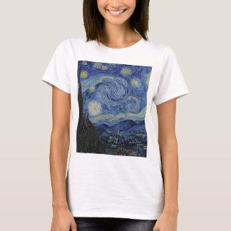 Camiseta Vincent van Gogh - noite estrelado. Pintura da