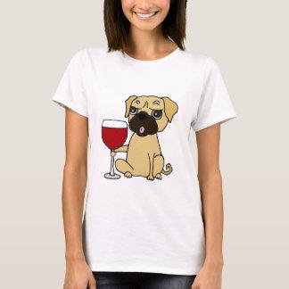 Camiseta Vinho tinto engraçado do bebendo do cão do Pug