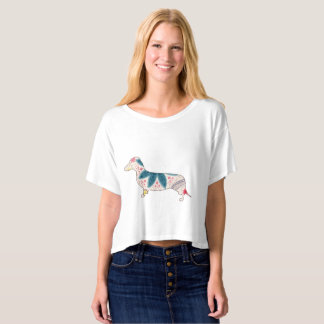 Camiseta Vintage Boxy do Dachshund do t-shirt da parte