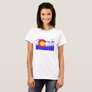 Camiseta Vintage de Moutain da bandeira de Colorado - dia