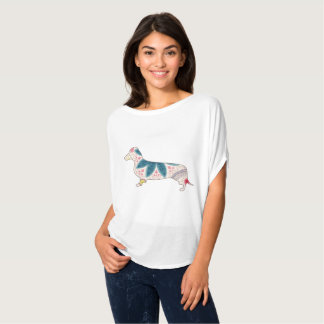 Camiseta Vintage do Dachshund da parte superior do círculo