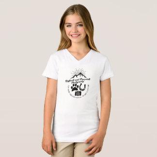 Camiseta Vintage Hoofbeats do V-Pescoço das meninas e T de