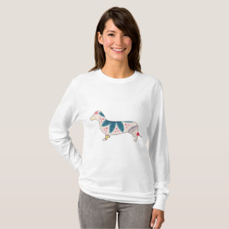 Camiseta Vintage longo básico do Dachshund do t-shirt da