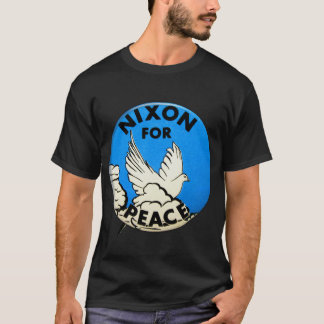 Camiseta Vintage Nixon para o botão da paz